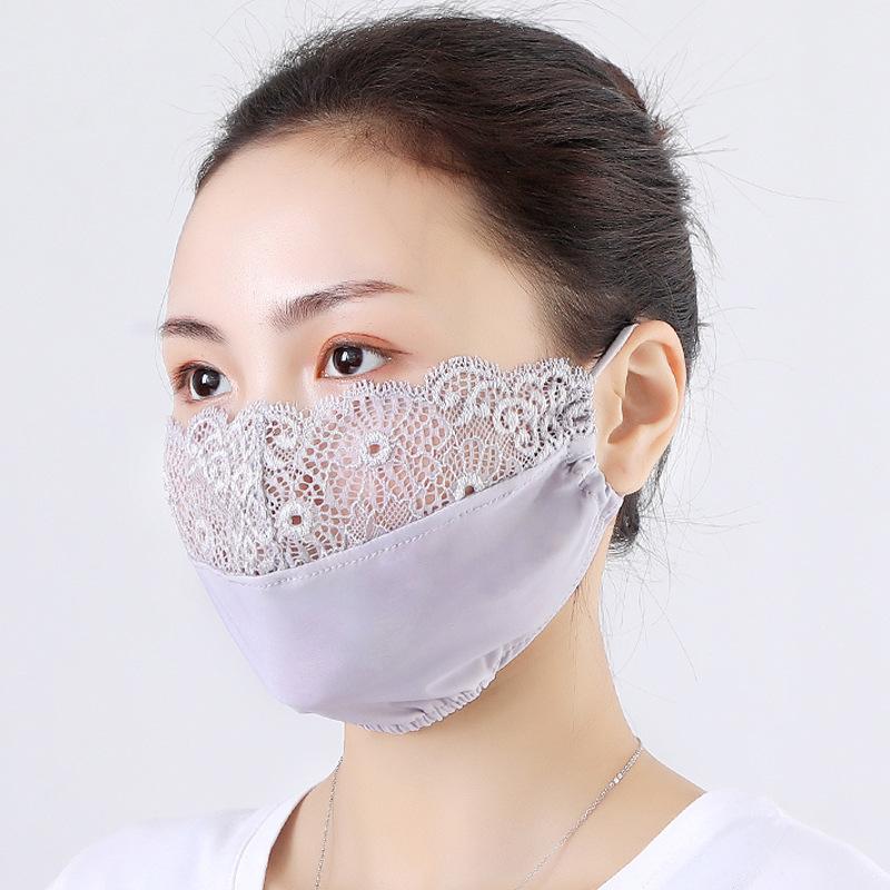レディース・レースマスク・花粉防止・防塵・日焼け対策・通気性・薄手・予防対策・洗えるマスク