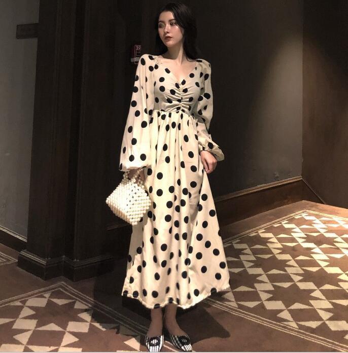 2020新作★アパレル★レディース服★ロングスカート★婦人服★体型カバーワンピース★水玉ドレス
