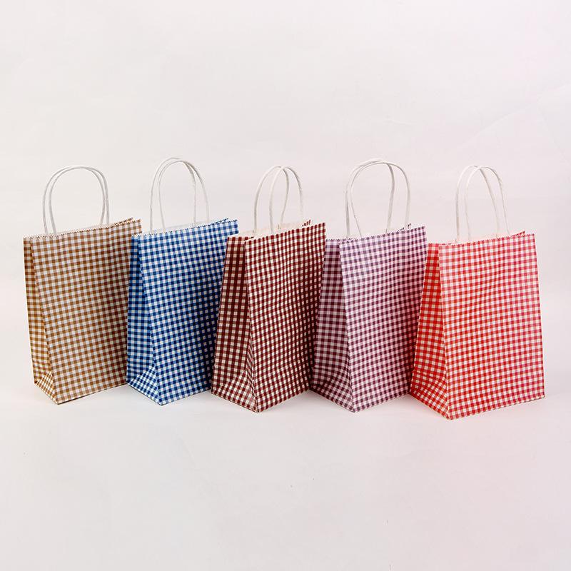 【包装資材】可愛い紙袋★小物入り★クラフト紙★ハトロン紙の袋★格子柄紙袋