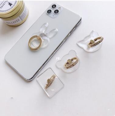 スマホリング 透明アクリル★携帯ホルダー スマホスタンド 落下防止 指輪スタイルスタンド 360度回転