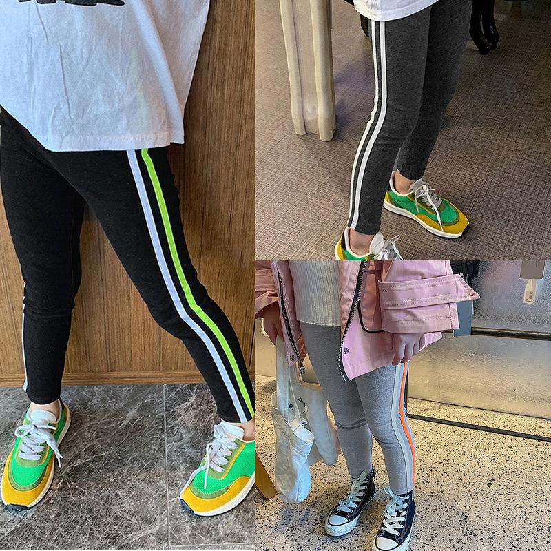 春新作 韓国子供服 3-8歳キッズ スキニーパンツ レギンス ズボン ストライプ柄 タイツ 7-15