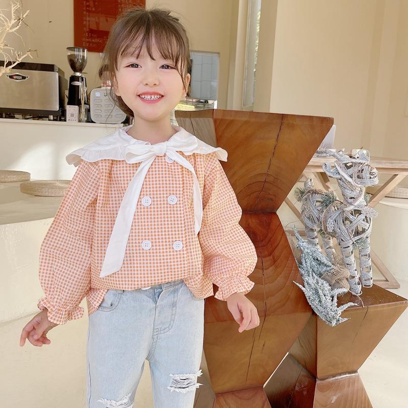 【2021新作】★♪上着★♪女の子ファッション★♪格子柄★♪長袖★♪子供服★♪可愛いシャツ★♪
