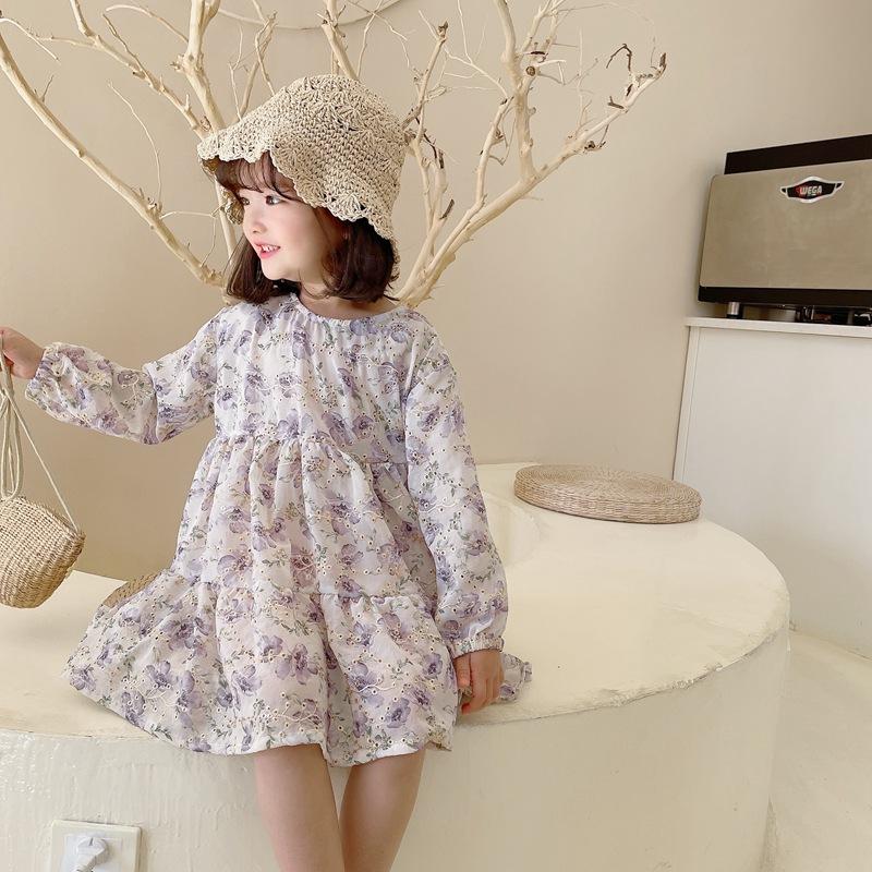 【2021新作】★♪女の子ファッション★♪花柄★♪長袖★♪子供服★♪可愛いワンピース★♪
