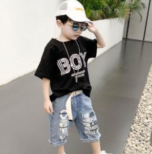 夏新入荷★キッズ男の子★トップス★Tシャツ+デニムズボン★セットアップ★100-160CM