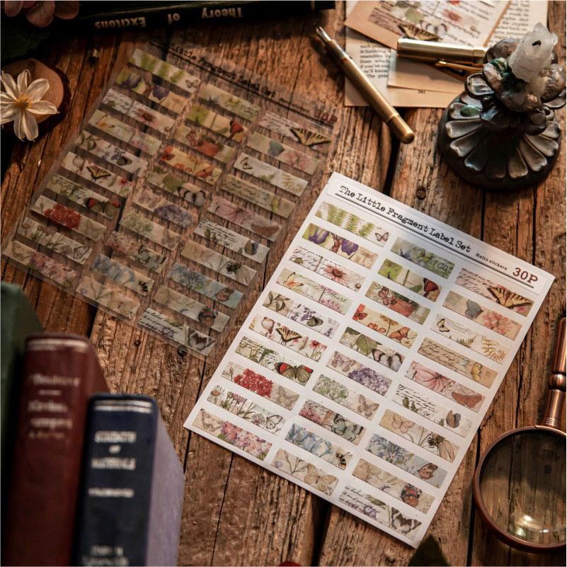 塩系文具 PET+紙 シール貼紙 手帳素材 アンティーク 植物蝶 マップ 星天体 文字 封口貼ラベル 2枚入