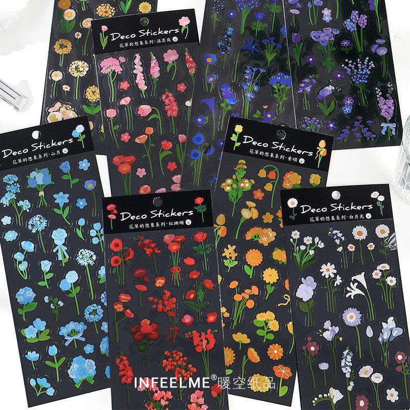 春夏新作 塩系文具 PETシール貼紙 手帳素材 封口貼 可愛い 絵風 自然植物 花フラワー 単枚入