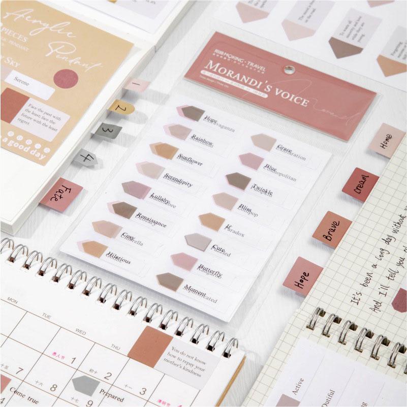 春夏新作 塩系文具 PET+紙 シール貼紙 手帳素材 Morandi色 封口貼 幾何学ラベル 文字 3枚入