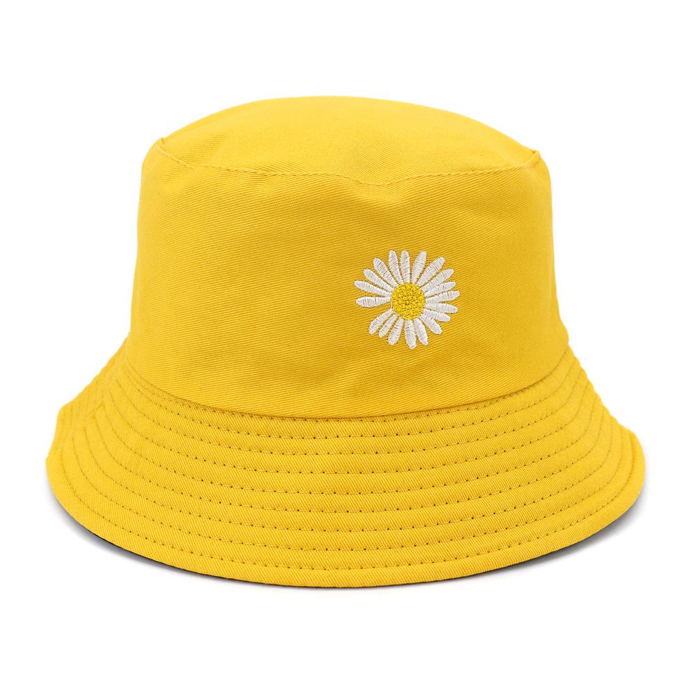 激安☆春夏レディース 旅行◆UV対策帽子◆バケットハット◆サンバイザー◆小顔 つば広 雛菊刺繍56-58cm