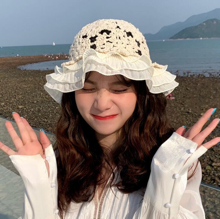 夏用/編み帽子/レディース帽子/可愛い/ニット帽子/韓国スタイル