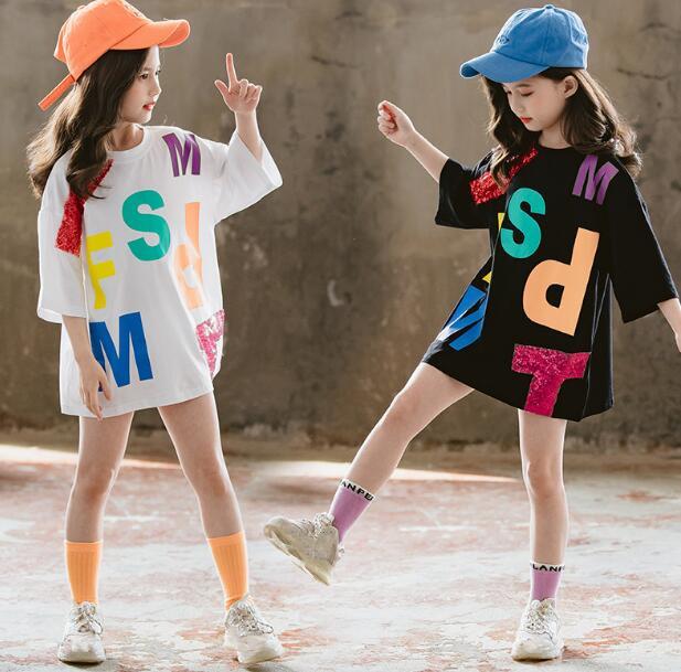 2020★夏新作★ファッション★洋風★ロングTシャツ★ワンピース★子供服★キッズ★半袖★2色110-160CM