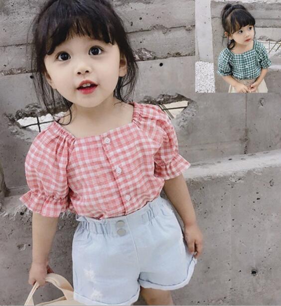 2020★夏新作★ファッション★カジュアル★ブラウス★子供服★シャツ★ポロシャツ★チェック★2色7-15