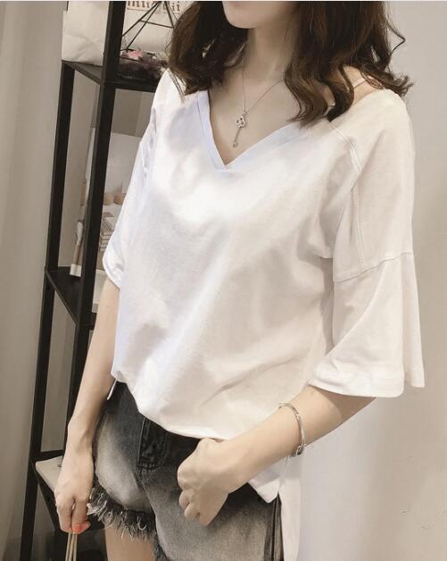 2020★夏新品★ファッション★Tシャツ★大きいサイズ★Vネック★純色★半袖★2色M-4XL