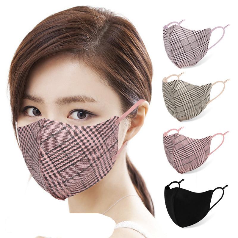 綿マスク★立体★格子柄マスク★飛沫防止★花粉 ★呼吸がしやすい★大人用マスク