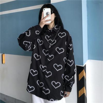 2021夏季★レデイース★原宿★復古港の風★気質★愛のプリント★ゆとり★長袖のシャツ