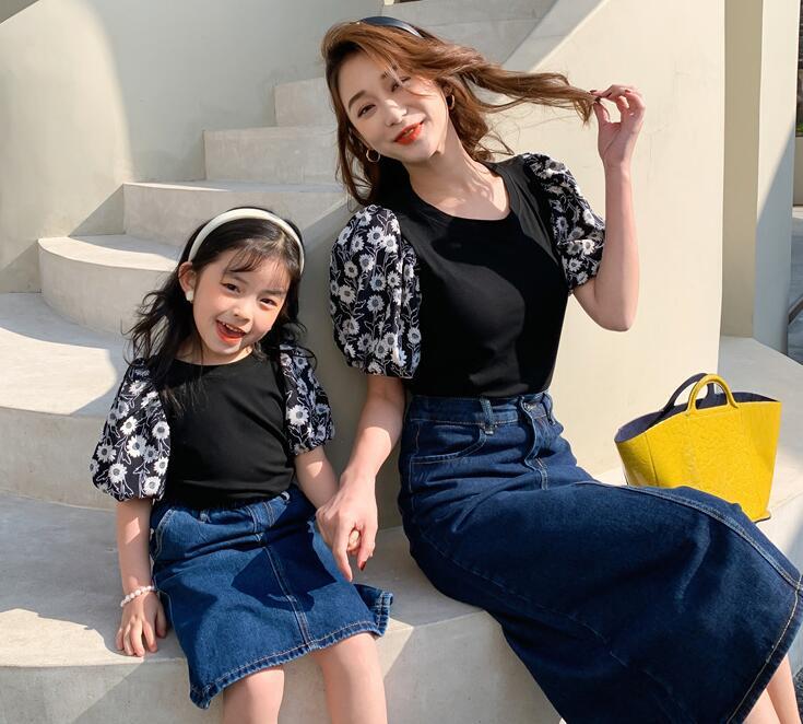 2021春夏新品★★子供服 可愛い花柄トップス 親子服★90-140cm/M