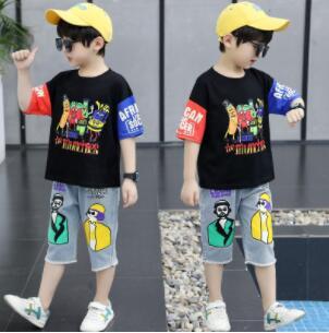夏新入荷★キッズ男の子★トップス★Tシャツ+デニムズボン★セットアップ★110-160CM 2色