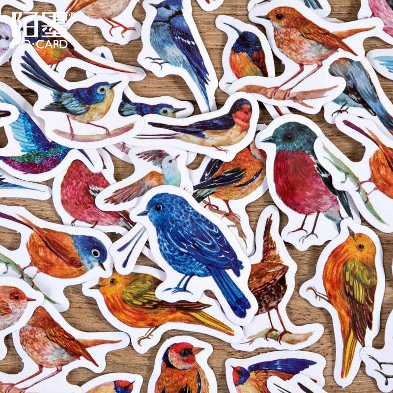 春夏新作 塩系文具 シール貼紙 ビンテージ 手帳素材 封口貼 アンティーク 可愛い 動物 雀 鳥 46枚入