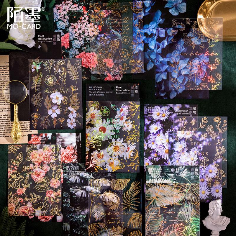 塩系文具 PET+紙 シール貼紙 ビンテージ 手帳素材 封口貼 アンティーク 自然植物 花葉写真撮影 2枚入