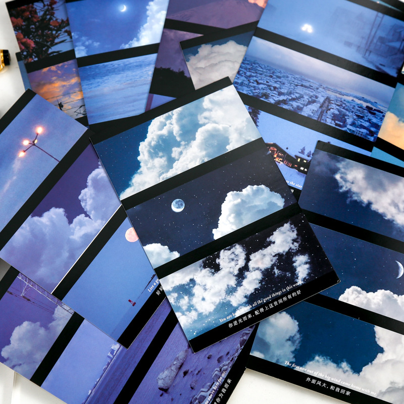紙物ラッピング ビンテージ 祝い 葉書 ポストカード 新年/誕生日/祝日通用 写真撮影 青い空森植物 30枚入