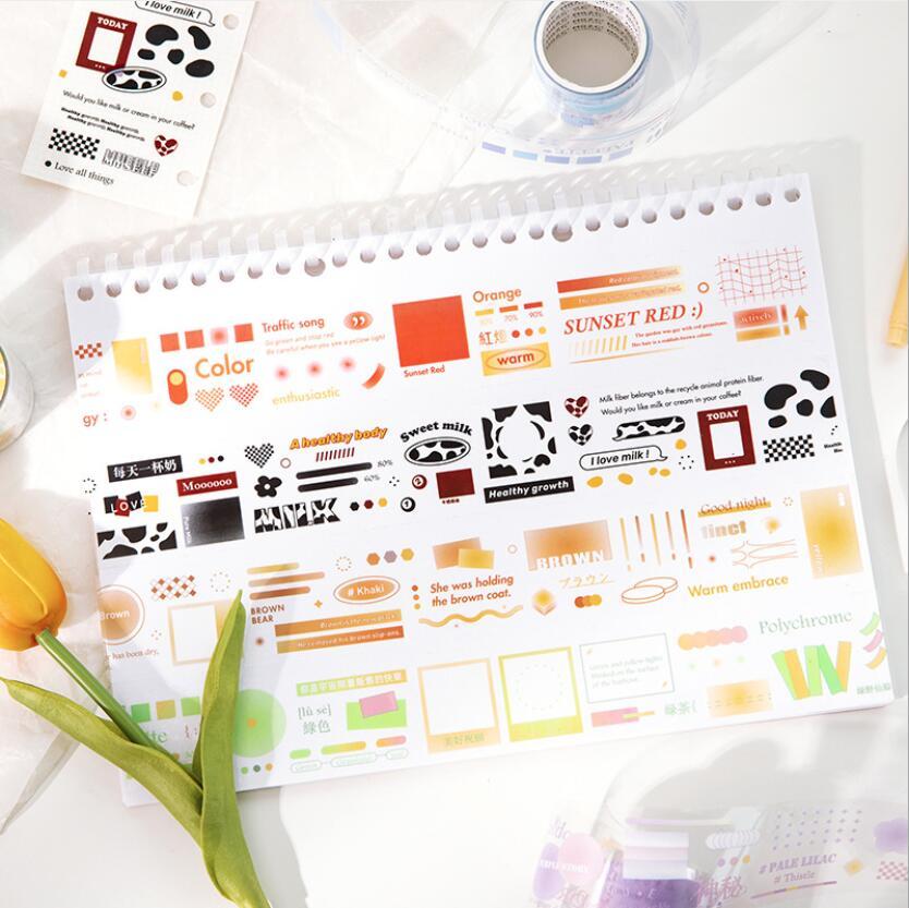 春夏新作 文具 PETシール貼紙 手帳素材 封口貼 マスキングテープ 可愛い 幾何学文字 37mm*3m
