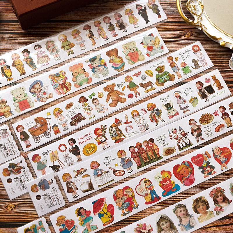 文具 シール貼紙 手帳素材 封口貼 マスキングテープ doll少女少年 植物花 ポスター 50*350mm 2枚入