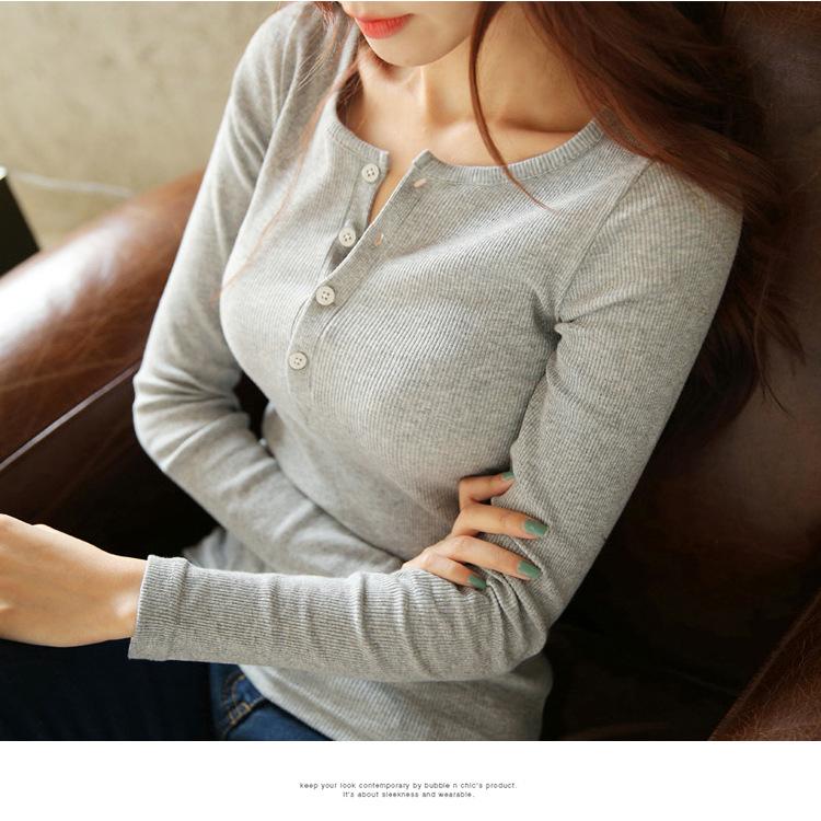 トップス・tシャツ・修身・4色・長袖・可愛い・レディース・ファッション・初秋新款