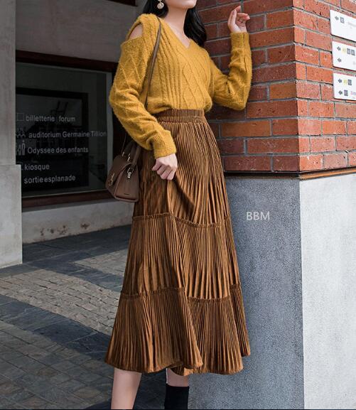 2020★秋冬新作★おしゃれ★厚い★裏起毛★半身スカート★4色