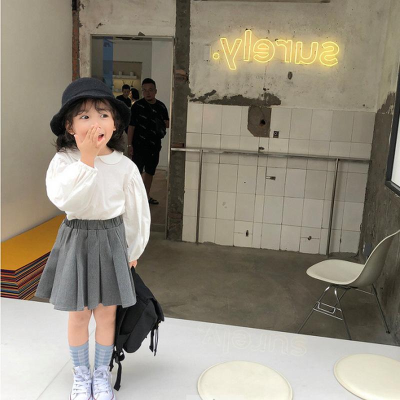 キッズ春新作 3-8歳女の子 ブラウス  無地 長袖上着 シャツ プリーツスカート 韓国風子供服 7-15