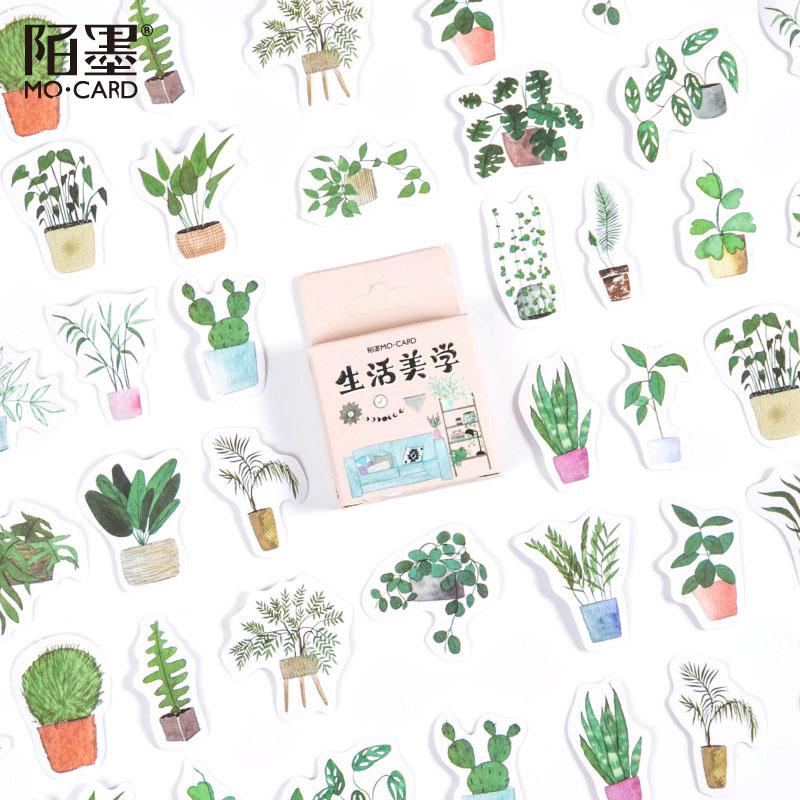 春夏新作 塩系文具 シール貼紙 ビンテージ 手帳素材 封口貼 可愛い 自然植物 鉢植え 46枚入