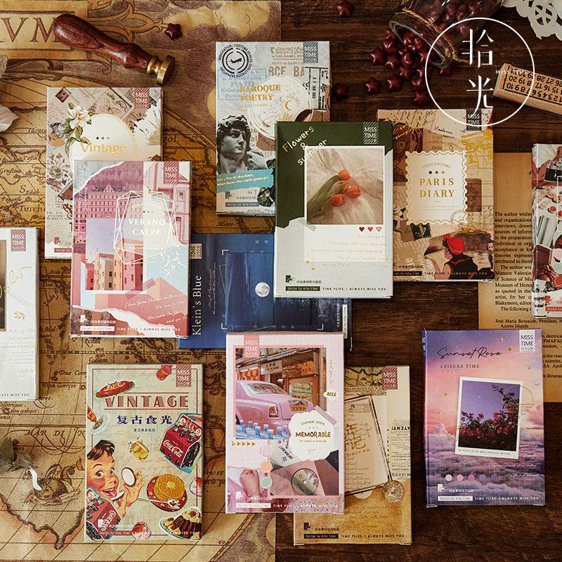 文具 シール 手帳素材 封口貼 アンティーク ポスター少女天使 写真撮影 植物花食べ物 貼紙45枚+素材紙10枚