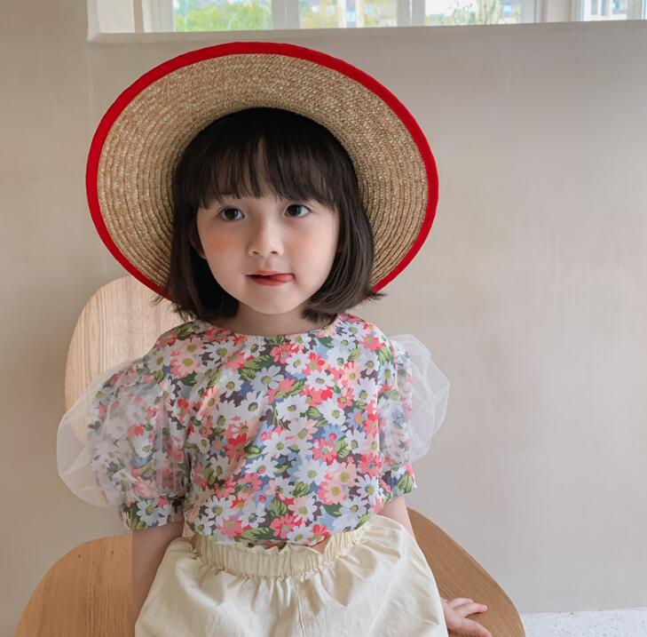 2021夏新品★韓国子供服★シャツ★半袖★キッズ女の子★キッズ★花柄★90-130CM