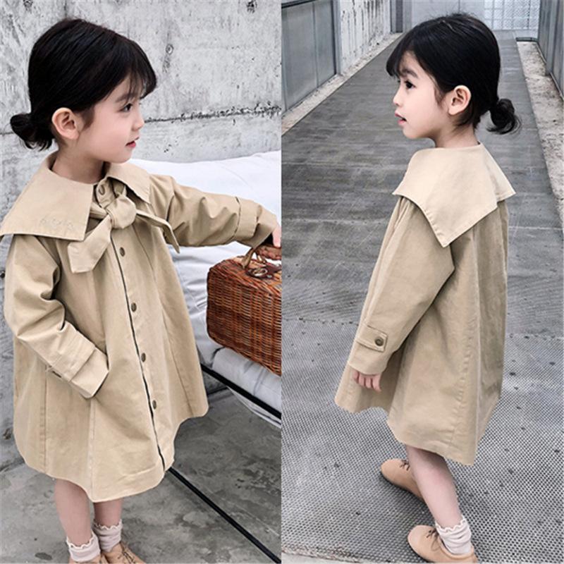 キッズ春新作 子供服 3-8歳女の子 上着 蝶ネクタイ+コート ロングコート トレンチコート7-15