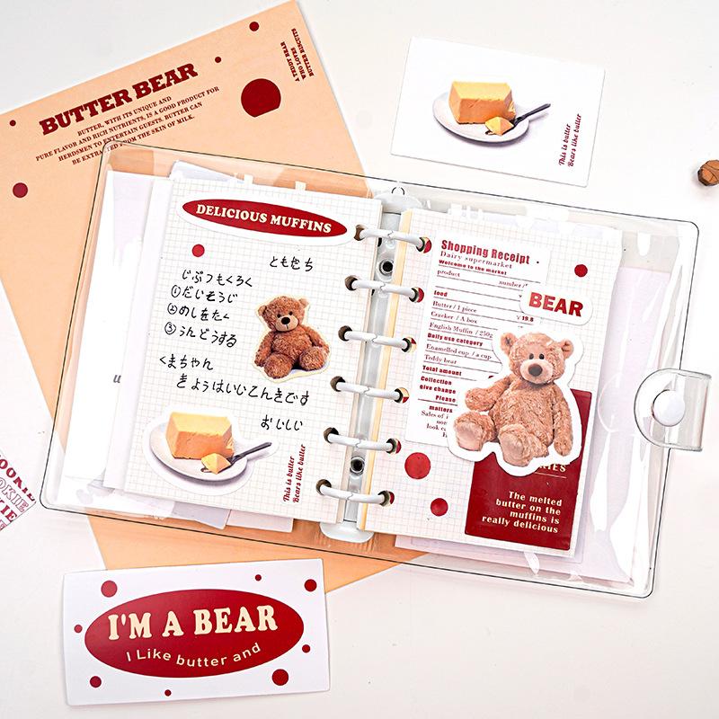 スイーツ文具 シール 素材紙 手帳素材 封口貼 幾何学 文字 熊牛 コーヒー デザート 貼紙30枚+カード2枚