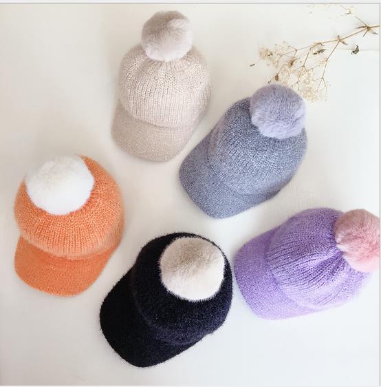 2020年新作★同梱でお買得★子供向け帽子★秋冬可愛い帽子★毛系ボール★ニット帽子★5色
