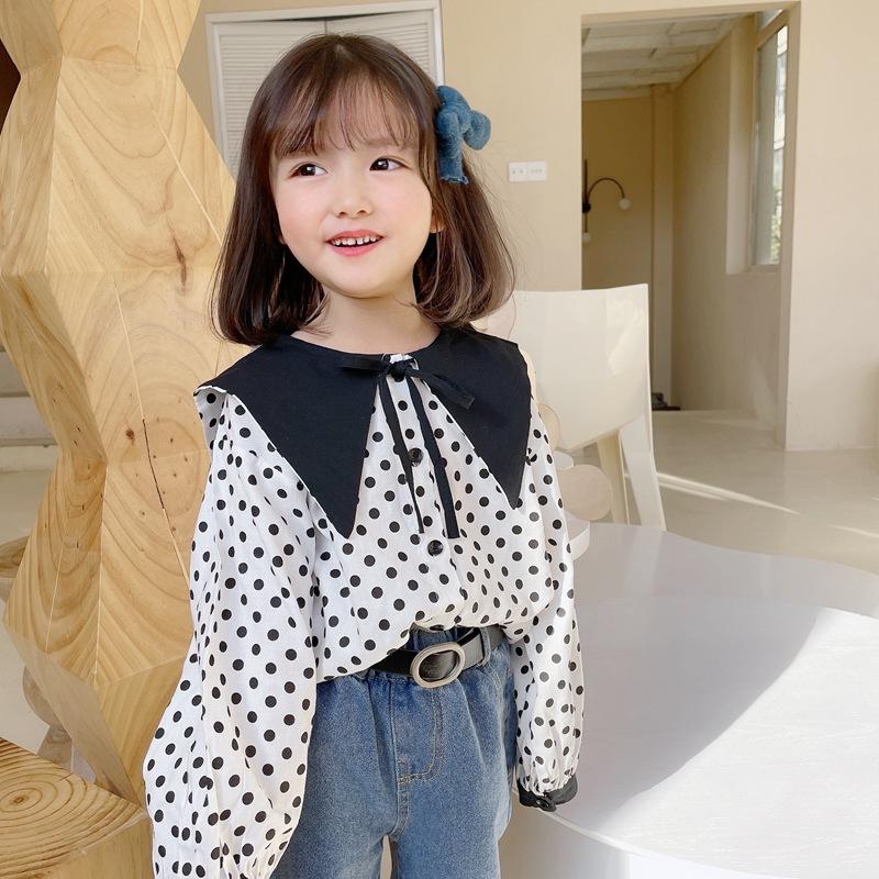 【2021新作】★♪上着★♪女の子ファッション★♪水玉★♪長袖★♪子供服★♪可愛いシャツ★♪