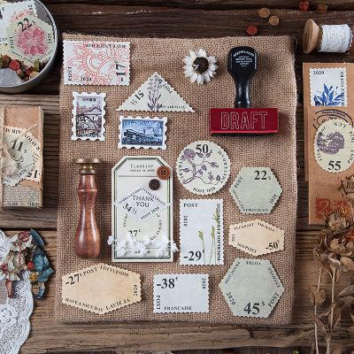 ins塩系文具◆付箋◆ポストイット◆手帳素材◆メモポスト★アンティーク素材紙★幾何学切手45枚入