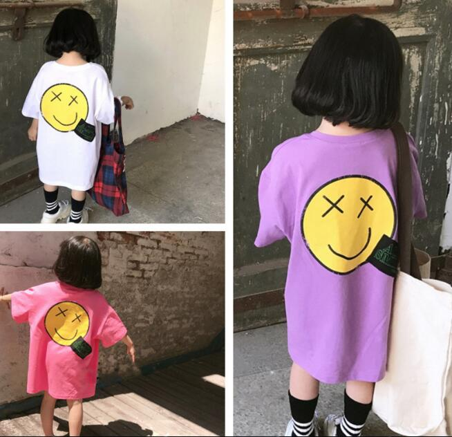 2020★夏新作★笑顔★Tシャツ★キッズ★ロング★子供服★ワンピース★半袖★4色7-15