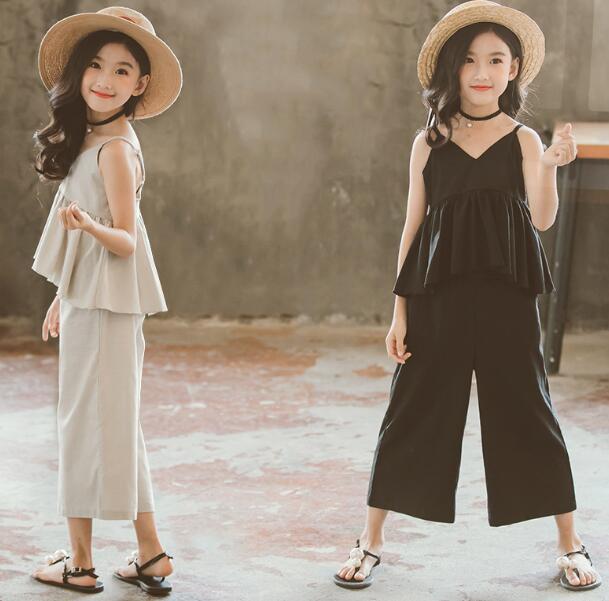 2020★夏新作★ファッション★スーツ★トップス+ワイドズボン2セット★袖なし★子供服★2色 90-150CM