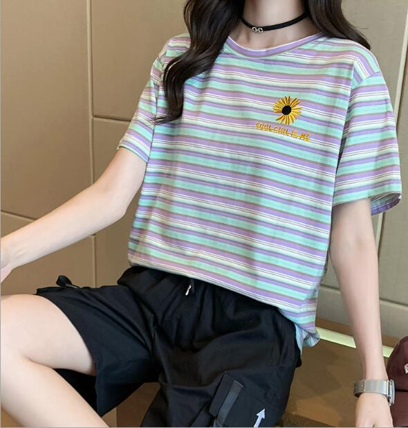 2020★夏新品★菊★ストライプ★ファッション★Tシャツ★半袖★3色M-XXL
