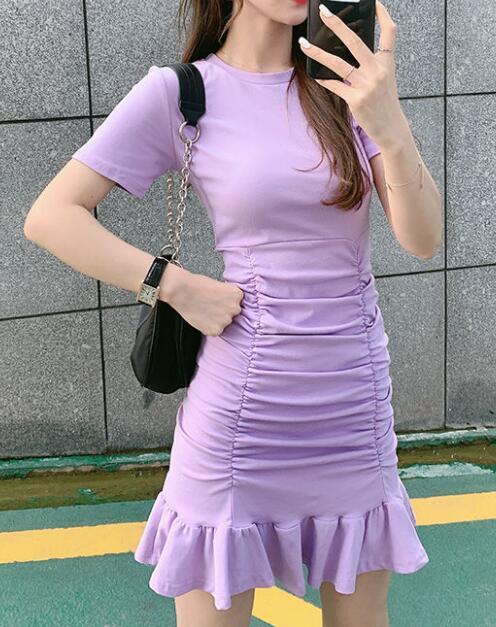 2020★夏新作★半袖★着痩せ★純色★ワンピース★ショート★スカート★4色S-XL