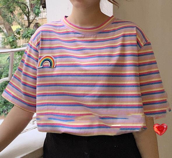2020★夏新品★ファッション★ストライプ★レインボー★Tシャツ★半袖★ゆったりした★2色M-2XL