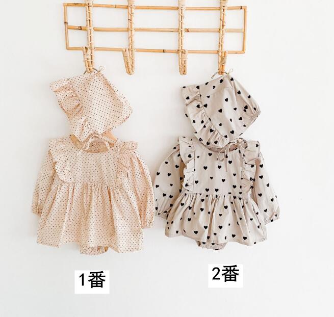2020年春秋向け★ベビー&キッズ服 ロンパース+帽子 2点セット★66-90★