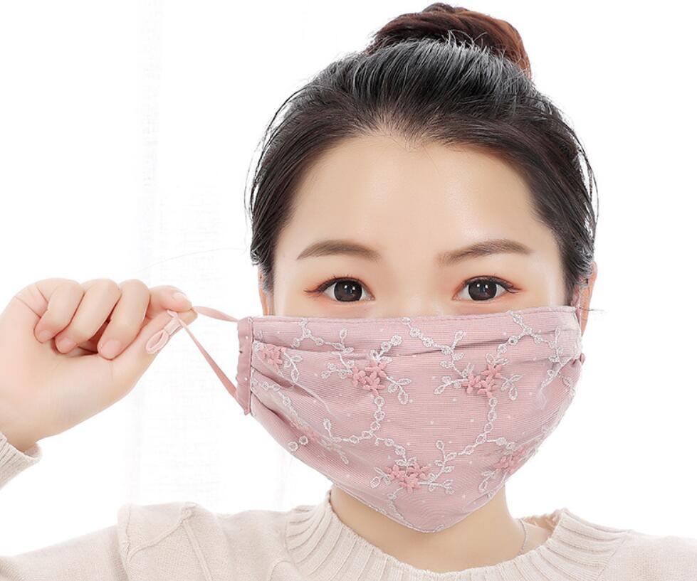 レディース用・夏マスク・レースマスク・UV対策・防塵・焼け防止・通気性・軽薄・冷感マスク