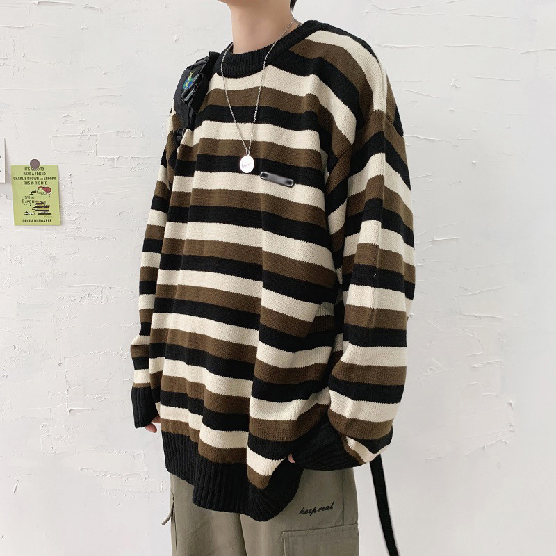 トップス・縞模様・セーター・ニット・長袖・人気・メンズファッション・初秋新款