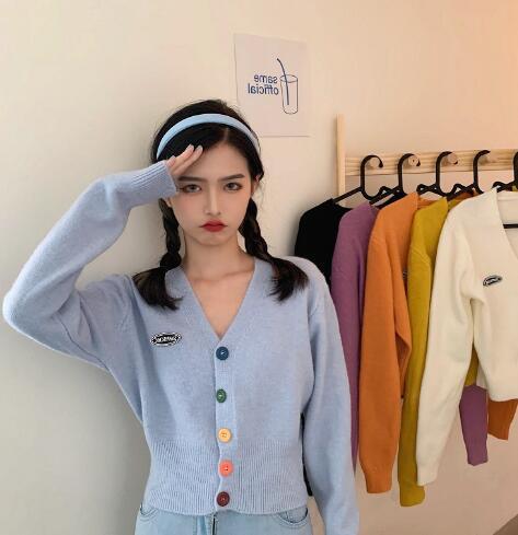 2020年新作★韓国スタイル★ニットコート★カーディガン★長袖★ファッション★Vネック★6色
