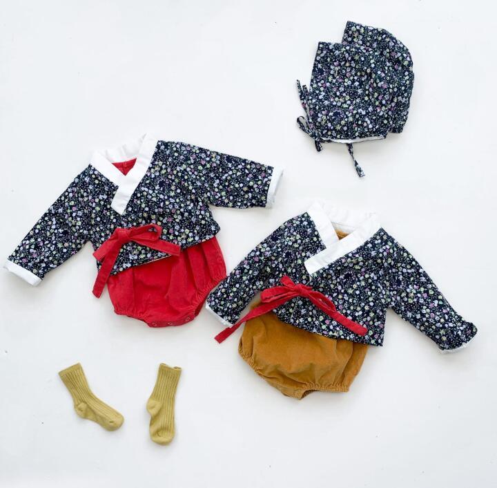 2020年秋冬新作★ベビー服★ベストロンパース+カーディガン★2点セット★長袖★子供服★2色66-100
