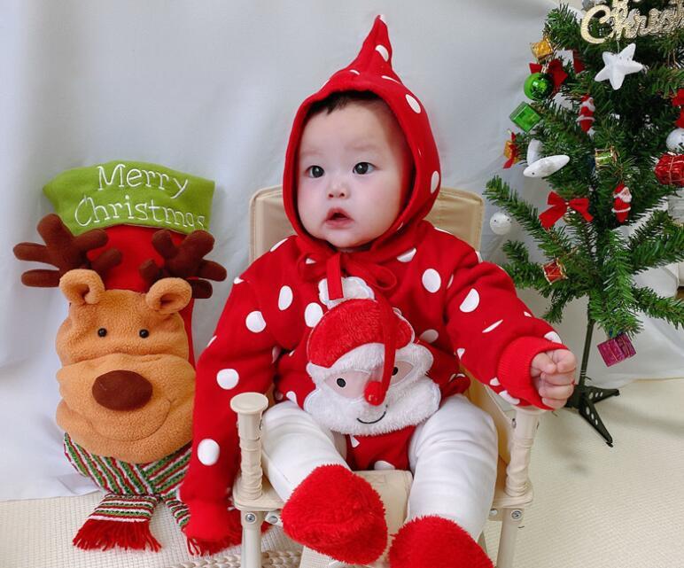 2020冬新作★クリスマス★ロンパース+帽子★裏起毛★韓国子供服★ベビー★子供服★キッズ★2色66-90