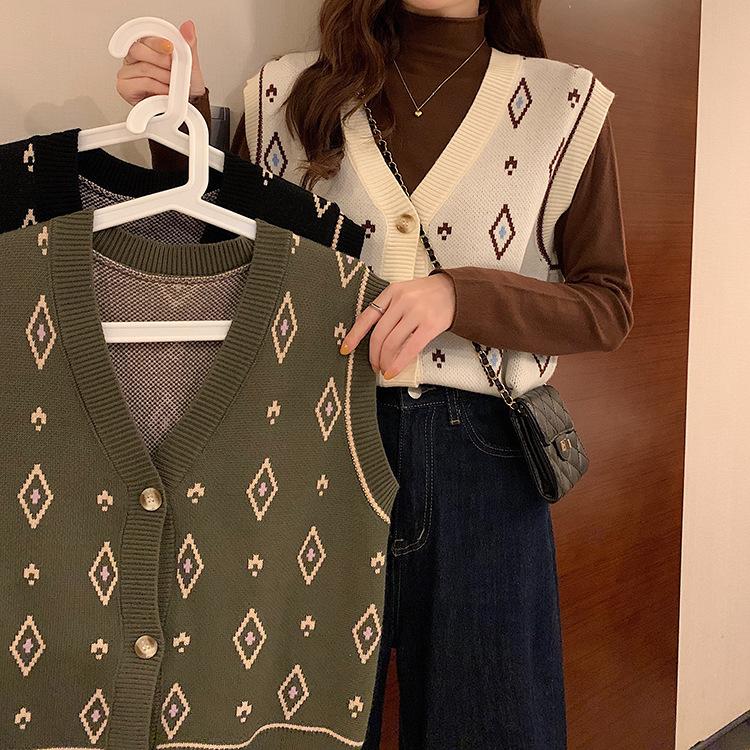 秋冬新作/レディーストップス/ファッション/チョッキ/ベスト/ニットベスト