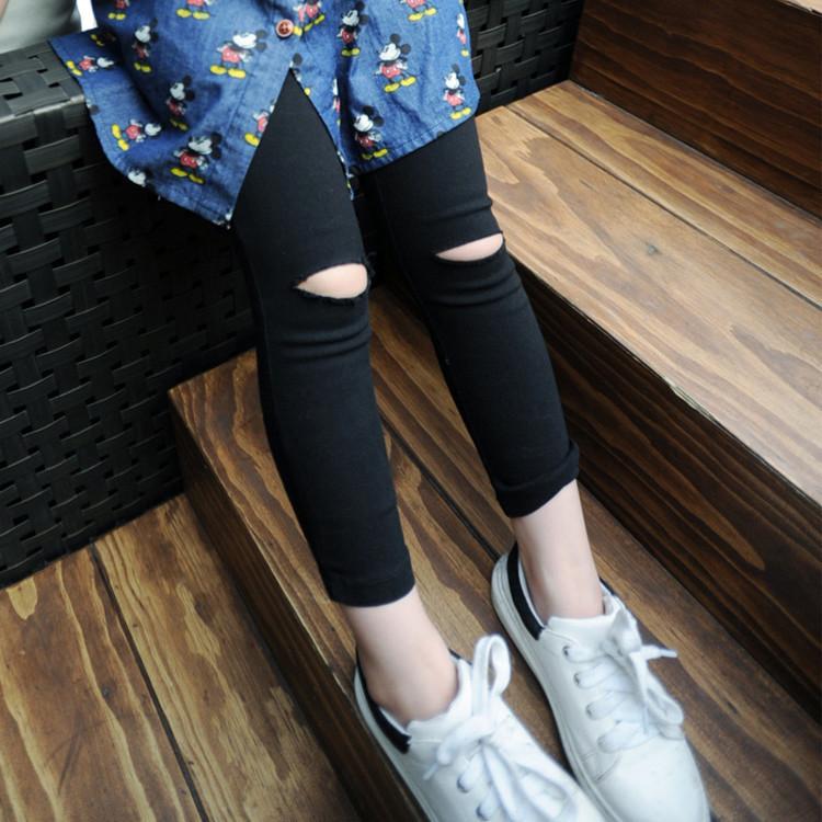 キッズ春新作 3-8歳女の子 タイツ パンツ  スキニーパンツ ダメージズボン 韓国風子供服 7-15