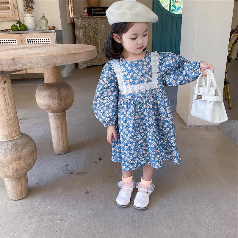 キッズ春新作 女の子 ワンピ  シフトドレス 長袖ワンピース 小花柄 花柄レース 森系子供服 7-15